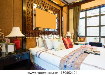 luxury comfortable bedroom with nice decoration of Chinese style