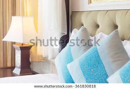luxury contemporary thai style bedroom. - stock photo