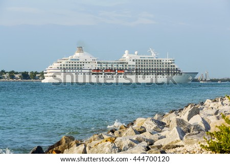 Luxury Cruise Ship Anchored in Gulf of Mexico near Key West