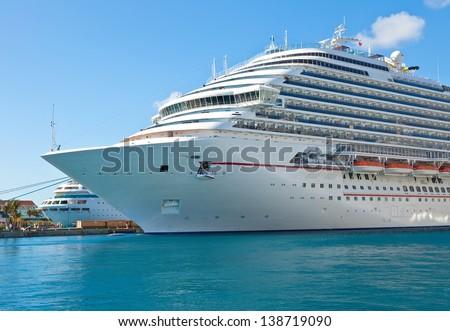 Luxury cruise ship anchored in the port of Nassau, Bahamas - stock photo