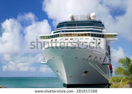 Luxury Cruise Ship in Port - stock photo