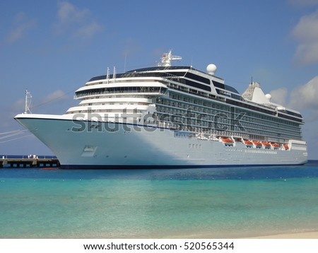 Luxury cruise ship in the Caribbean