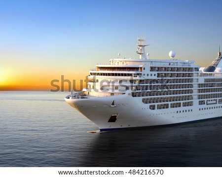 stock photo luxury cruise ship sailing from port on sunset 484216570 - Каталог — Фотообои «Закаты, рассветы»