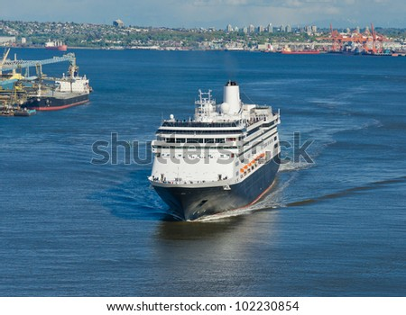 Luxury cruise ship sailing from port. Vancouver. Canada. - stock photo
