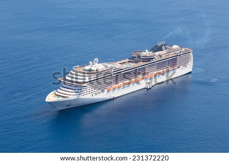 Luxury cruise ship sailing in Mediterranean sea. - stock photo