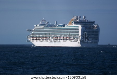 Luxury cruise ship sailing in open water