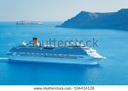 Luxury Cruise Ship, Sailing in the Mediterranean - stock photo