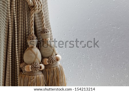 Luxury curtain and tassel - stock photo