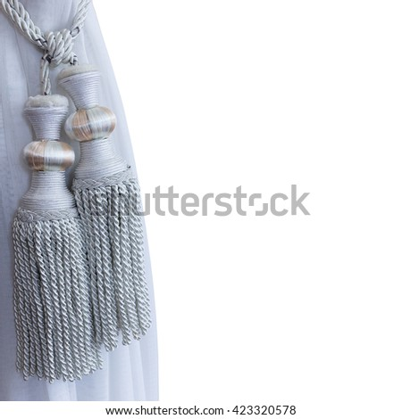 Luxury curtain gray with clipping path on white background, with copy space. - stock photo
