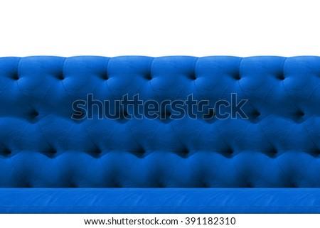 Luxury Dark Blue sofa velvet cushion close-up pattern background on white - stock photo