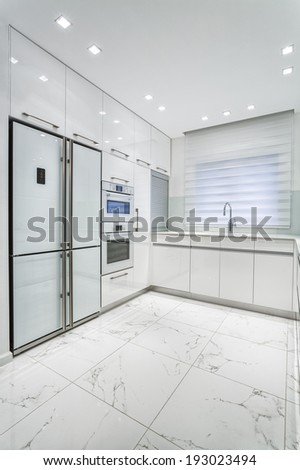 Luxury Design Of  Dining Room And Kitchen - White Color - stock photo