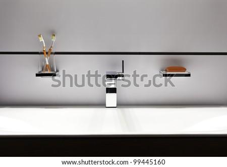 Luxury designed modern bathroom - stock photo