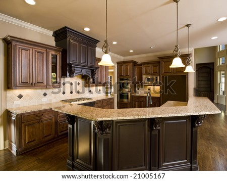 Luxury Diamond tile Kitchen left side view - stock photo