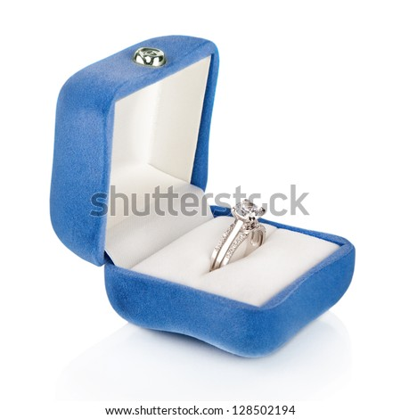 Luxury Diamond Wedding Ring in Blue Velvet Silk Box using for Engagement for Love in Valentine Holiday Concept - stock photo