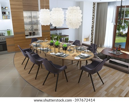 Luxury dining room in a contemporary style with a large dinner tabletop for eight people. Rich white chandelier hanging over the table of opaque plastic. 3D render.