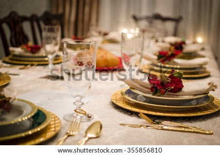 Dining Room Table Set For Dinner fancy dinner setting dining room table stock photo 355789790