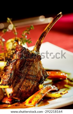 luxury dinner served on the table - stock photo