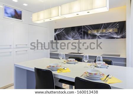 Luxury Domestic Kitchen Design   - stock photo
