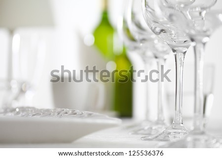 glasses table setting. Luxury Elegant Dinner Table Setting In Restaurant Or Hotel With Wine Glasses And White E