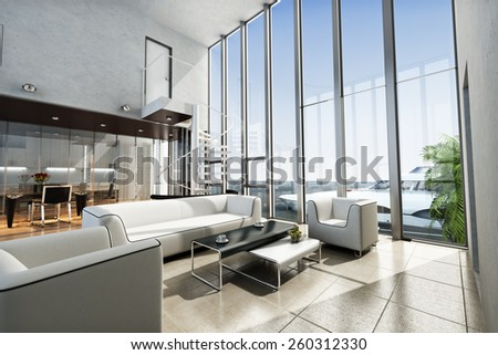 Luxury estate interior with ocean view and yacht. Photo realistic 3d scene.  - stock photo