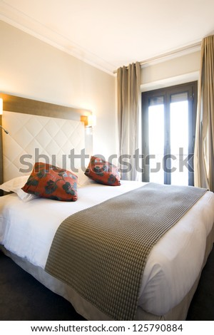 luxury expensive lodging Nice France French Riviera famous hotel  small room - stock photo
