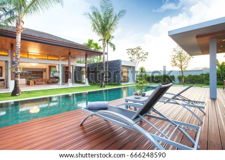 Luxury Exterior Design Pool Villa With Interior Living Room