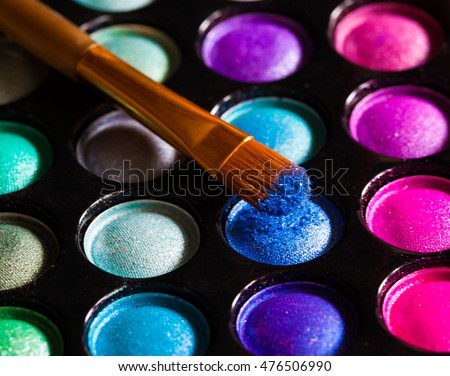 Luxury eye shadow.  Beauty background. Close up concept. Decorative natural cosmetics.