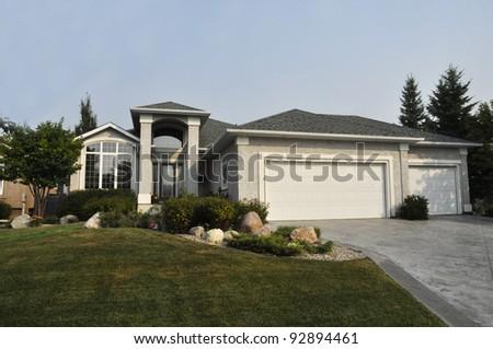 luxury family house in suburb - stock photo