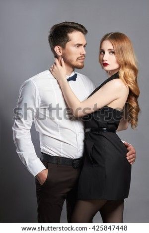 luxury fashionable couple. Beautiful woman with the man.beauty girl and boy together