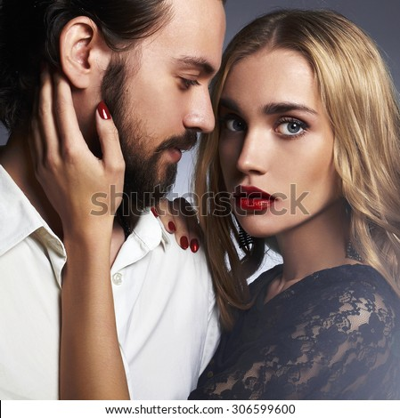 luxury fashionable couple in tender passion. Beautiful woman near the man.beauty girl and boy together