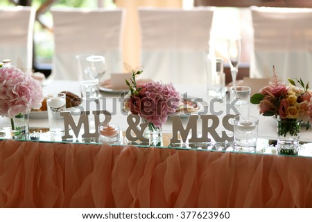 Luxury floral table decor on the wedding ceremony
