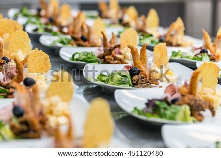 Luxury food on wedding table - stock photo