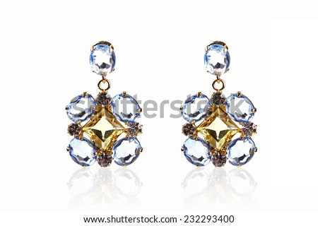 luxury gemstone earrings isolated on white - stock photo