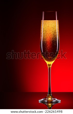 luxury glass of champagne very festive background - stock photo