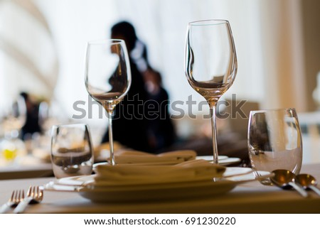 luxury glass of water  on table at restaurant