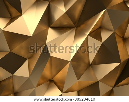 Luxury Gold Abstract Low-poly Background 3D Rendering - stock photo