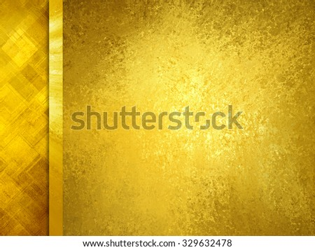 Luxury gold background with vintage texture and side bar ribbon trim of abstract diamond triangle pattern, classy formal background layout - stock photo