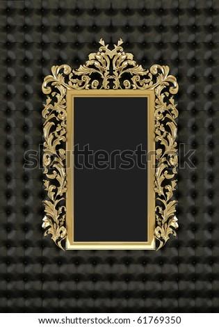 Luxury gold frame on the black background - stock photo