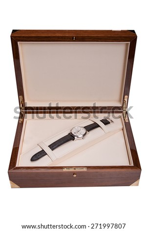 Luxury gold watch swiss made. In box