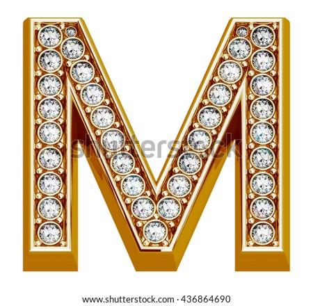Luxury Golden Alphabet With Diamonds Isolated On White Background 3D Illustration Letter M