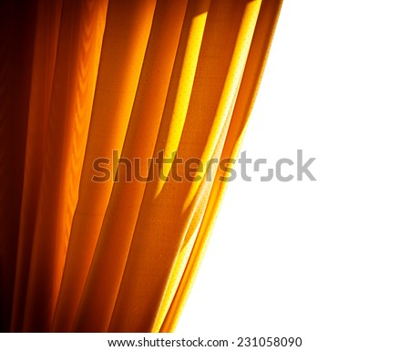 Luxury golden curtain border isolated on white background, antique art design of theatrical curtains, beautiful decor for windows - stock photo
