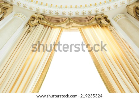 Luxury golden curtain in a room over white background. - stock photo