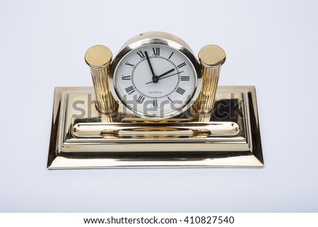 Luxury golden table clock - stock photo