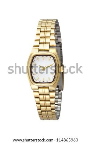 Luxury golden woman wristwatch on white background - stock photo