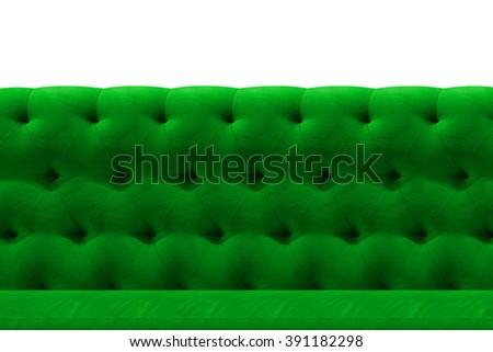 Luxury Green sofa velvet cushion close-up pattern background on white - stock photo