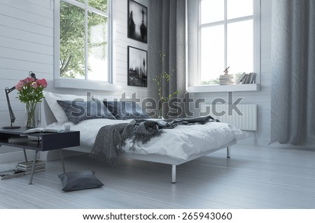 Luxury grey and white modern bedroom interior with a contemporary double divan and bedside table with flowers below large windows with curtains. 3d Rendering - stock photo