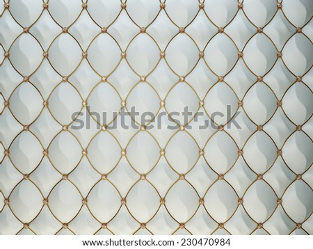 Luxury grey leather background with diamonds and golden wire. High resolution - stock photo