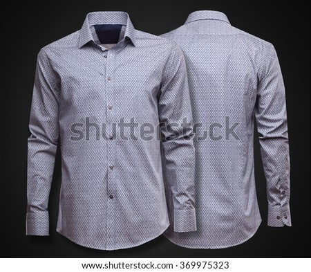 Luxury grey shirt on dark background. Businessman clothes