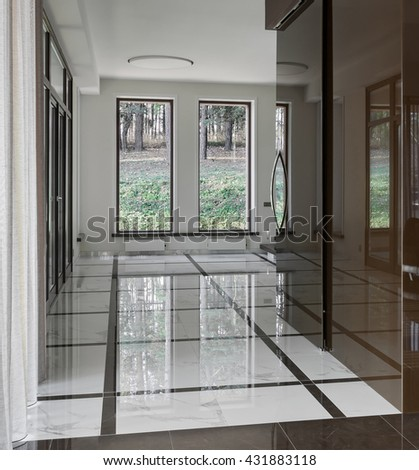 Luxury hall with big windows in modern style - stock photo