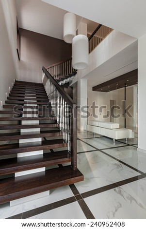 Luxury hall with staircase in modern style - stock photo